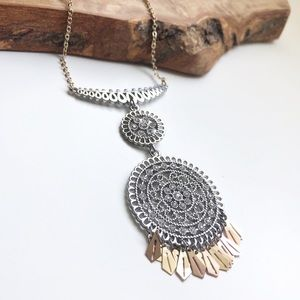 Express mixed metals pendant necklace